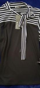 Allegra K black and white blouse